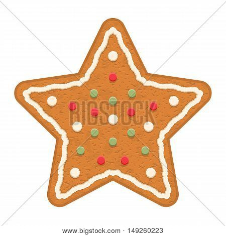 Gingerbread star, traditional Christmas cookie, vector eps10 illustration