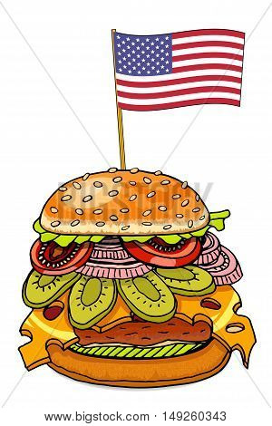Realistic hamburger with cheese cucumber and tomato. Cheeseburger with usa flag as american food symbol. Hand drawn sketch of hamburger food. Vector illustration
