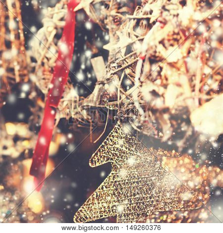 Christmas decorations on the market in Europe - Vintage Christmas background