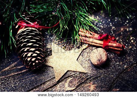 Christmas background greeting card with fir tree branch and holiday decorations. Merry christmas and Happy New Year Card.