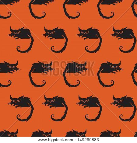 Seamless Pattern With Terrible Cat On A Orange Background. Halloween Background.