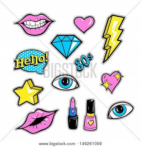 Set of fashion patch badges with lips, hearts, speech bubble, star and other elements. Vector illustration isolated on white background. Set of stickers, pins, patches in cartoon 80s-90s comic style.