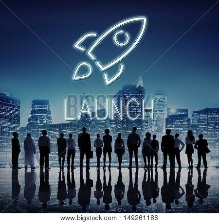 Business Goals Rocket ship Target Concept