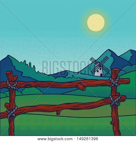 Vector retro illustration of the countryside. Idyllic landscape.