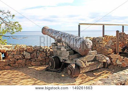 Cannon in old castle Tossa de Mar, Costa Brava, Spain