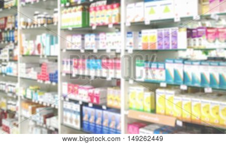 Blurred medicines shelves in pharmacy shop Blurred drug store use as background.