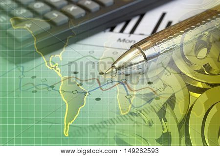 Financial background with map calculator graph and pen.