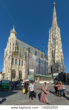 Vienna Austria 25th August 2016 - Stephansdom and tourists in the center of the plaza