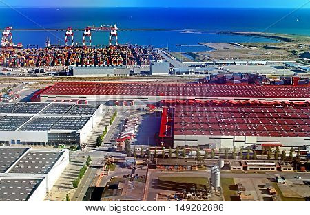 BARCELONA, SPAIN - OCTOBER 5, 2013: Panoramic view of the port in Barcelona in a summer day, Spain