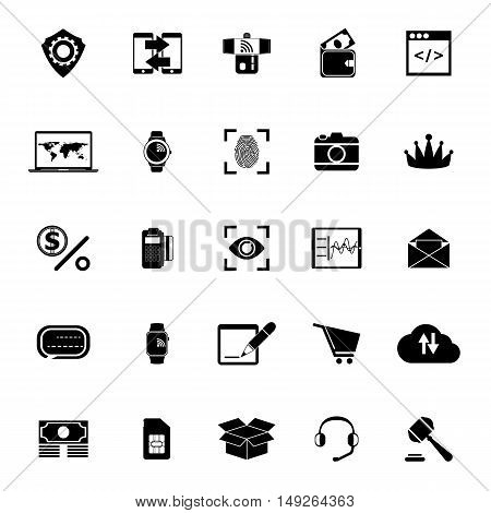 Financial technology icons on white background stock vector