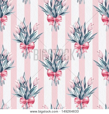 Bouquet. Flowers and bow. Seamless striped pattern on paper texture 4