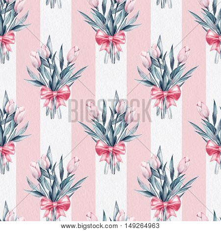 Bouquet. Flowers and bow. Seamless striped pattern on paper texture 5