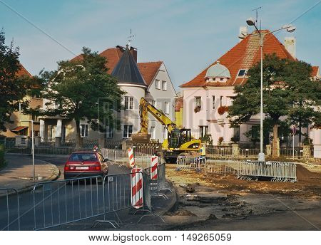 2016/09/24 Chomutov Czech republic - reconstruction of the intersection of three streets Zborovska Celakovskeho and Politickych veznu complicate traffic in city this situation should be finish in 26. december this year
