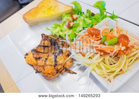 Steak With Herbs And Vegetable Salad, Papaya Salad