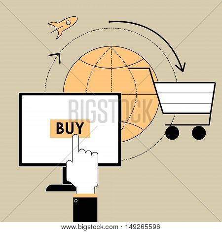 Flat line design vector illustration poster concept of buying the product through an online store on your computer. E-commerce and trade items