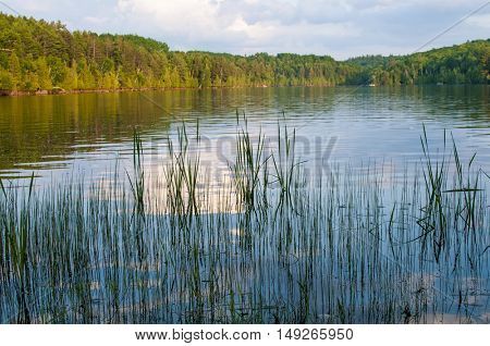 Lake landscape with reflections on the water at sunset, Ontario, Canada