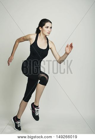 Running Young Beauty Woman Isolated Studio Shot