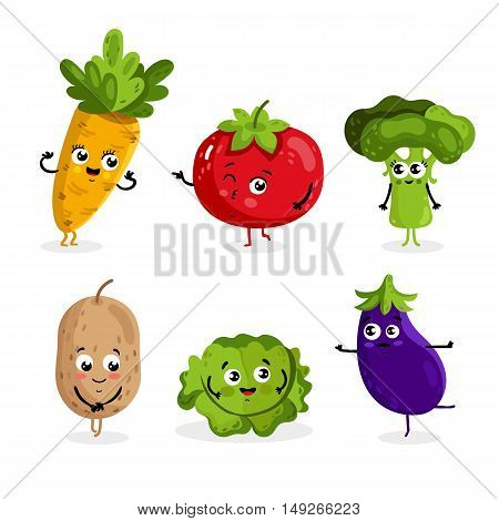 Cartoon vegetable cute characters face isolated on white background vector illustration. Funny vegetable face icon vector collection. Cartoon face food emoji. Vegetable emoticon. Funny food concept. Smiling cute funny food. Cartoon food.