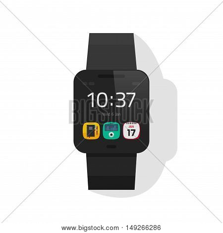 Smart watch black color vector illustration isolated on white background, digital hand clock with touchscreen display, smartwatch flat cartoon design