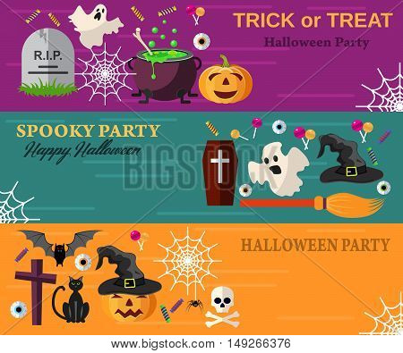 Halloween Horizontal Banners or Flyers. Vector Illustration in flat design. Halloween Party Invitation with Flat Icons.