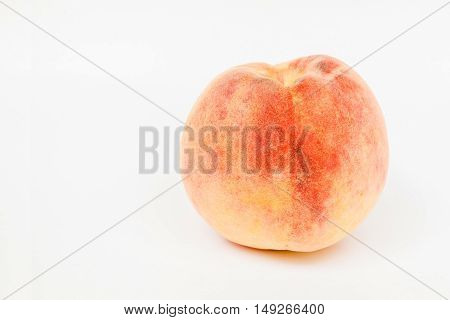Sweet ripe peach fruit on white background