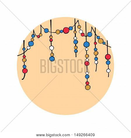 Beads. Decorative elements. Frame of beads. Isolated vector objects.