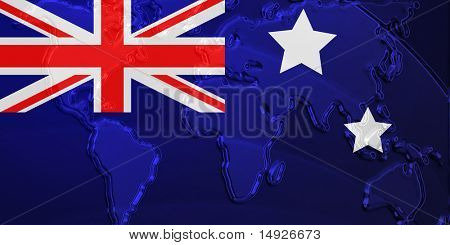 Flag of Australia, national country symbol illustration with world map, metallic embossed look