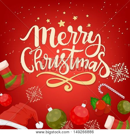 Merry Christmas celebration greeting card design with various ornaments on red background.