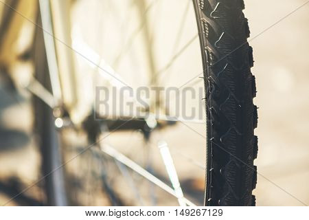 Bicycle wheel close up with selective focus