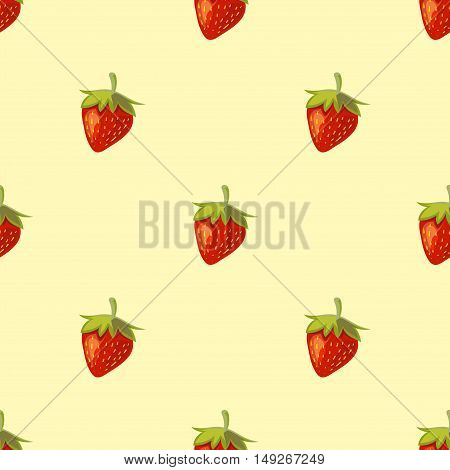 Red vector strawberries seamless pattern. Useful sweet dessert illustration