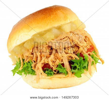 Shredded pork sandwich roll with apple sauce and salad isolated on a white background