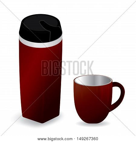 Red thermos bottle with red cup isolated on white background.