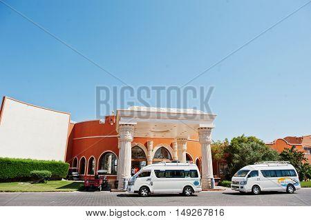 Hurghada, Egypt -20 August 2016: El Nakhil Limousine Cars Bus At Luxury Resort Caribbean World Soma