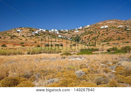 Houses near Gavrio village on Andros island in Greece.
