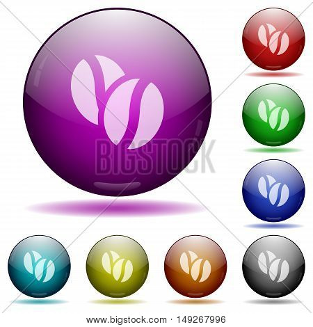 Set of color coffee beans glass sphere buttons with shadows.