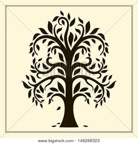 Large tree with leaves. Vector logo template.