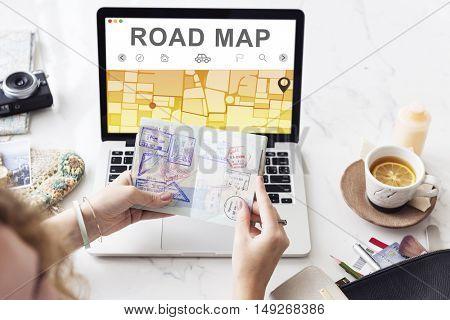 GPS Destination Route Map Graphic Concept