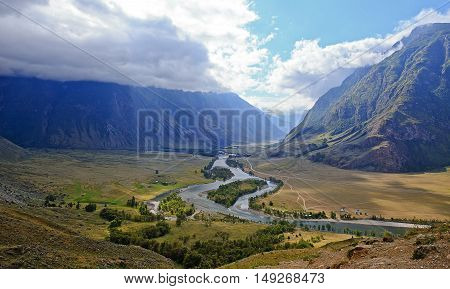 panorama Valley of river Chulyshman Altai. Russia