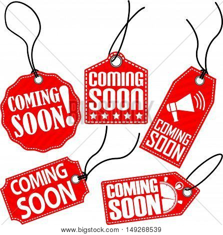 Coming soon red tag set vector illustration