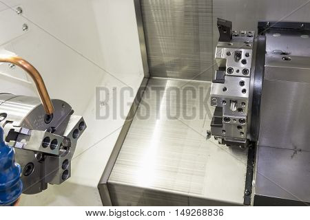 The CNC lath machine,close up to the head stock of CNC lath machine.The CNC turning machine without the work pieces