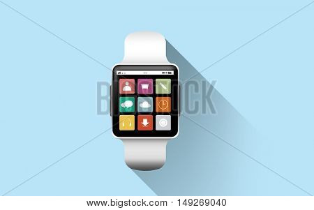 modern technology, application, object and media concept - close up of black smart watch with app icons on screen over blue background