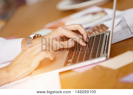 Desk and hands close up