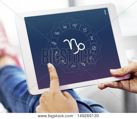 Capricorn Horoscope Zodiac Online Graphic Concept