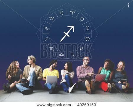 Sagittarius Symbol Horoscope Zodiac Graphic Concept