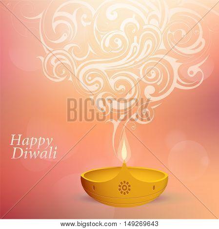 Indian festival Diwali greeting card design with diya