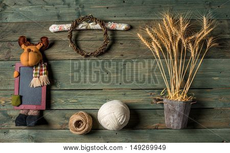 Wheat Ears On The Wooden Table