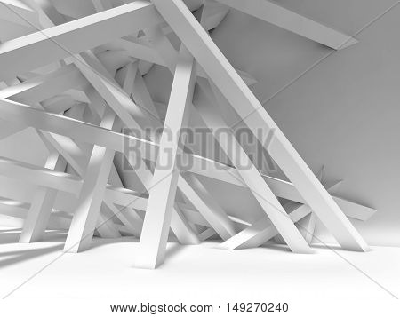 Chaotically Beams Installation In Empty Room. 3D