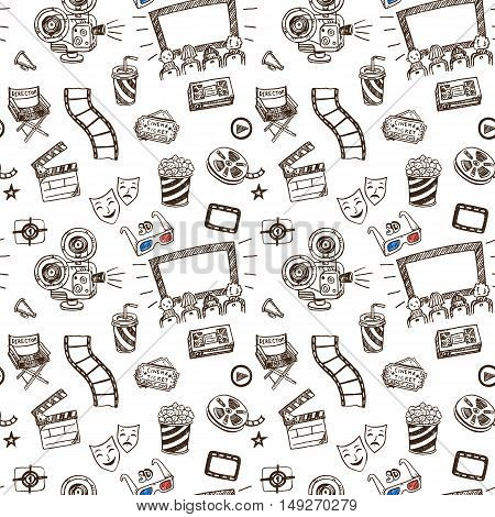 Hand drawn cinema doodle seamless pattern background