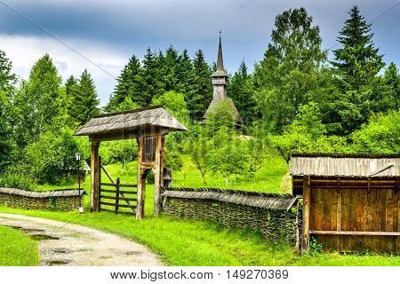 Sighetu Marmatiei Romania. Old vilage in Maramures Romanian traditional architectural style life in the countryside.