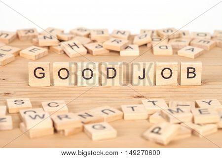 Good job word written on wood cube
